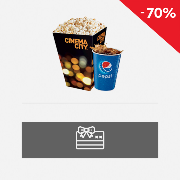 Cinema City - voucher na średni zestaw popcorn plus pepsi.